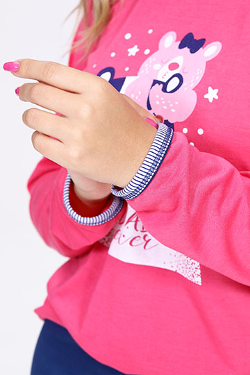 Pijama Feminino de Inverno Divertidamente Rosa