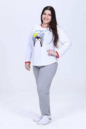 Pijama Feminino de Inverno Divertidamente Branco